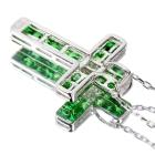 グリーンガーネット(ツァボライト)1.2ct ダイヤ ミステリークロスモチーフ ホワイトゴールド ネックレス【品質保証書/宝石鑑別書付】【オーダージュエリー】