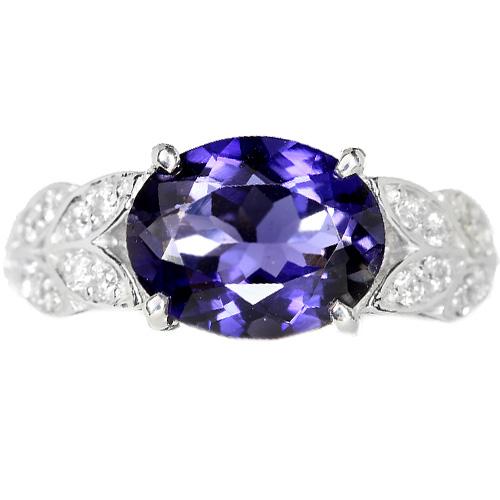 アイオライト ダイヤモンド ホワイトゴールド リング(指輪)【品質保証書/鑑別書付】【動画あり】【オーダージュエリー】