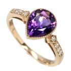 アメシスト1.4ct ダイヤモンド ピンクゴールド リング(指輪)【品質保証書付】【動画あり】