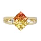 イエロー・オレンジサファイア0.6ct ダイヤモンド ミステリー イエローゴールド リング(指輪)【品質保証書/鑑別付】【動画あり】 【オーダージュエリー】