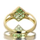 グリーンガーネット(ツァボライト)0.6ct ダイヤモンド ミステリー イエローゴールド リング(指輪)【品質保証書/鑑別書付】【動画あり】 【オーダージュエリー】