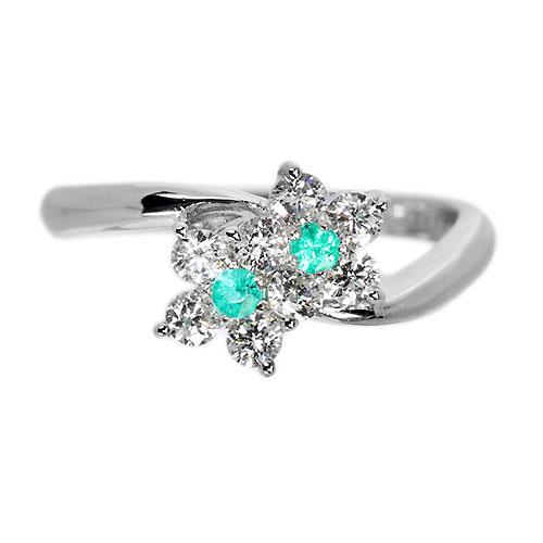 ブラジル産パライバトルマリン ダイヤモンド0.4ct ツインフラワー プラチナ リング(指輪)