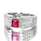 レッドベリル(ビクスバイト)0.47ctダイヤモンド1.3ctプラチナリング(指輪)