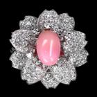 コンクパール2.5ct ダイヤモンド1.2ct 桜モチーフ プラチナ リング(指輪)