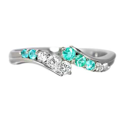 ブラジル産パライバトルマリン ダイヤモンド プラチナ リング(指輪)