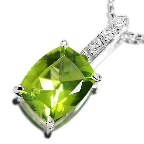 ペリドット2.7ct ダイヤモンド ホワイトゴールド ネックレス