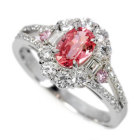 パパラチャサファイア1ct ピンクダイヤ プラチナ リング(指輪)