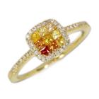 オレンジ/イエローサファイア0.3ct ダイヤモンド ミステリーセッティング イエローゴールド リング(指輪)
