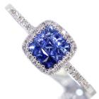 ブルーサファイア0.3ct ダイヤモンド ミステリーセッティング ホワイトゴールド リング(指輪)