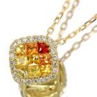 オレンジ/イエローサファイア0.3ct ダイヤモンド ミステリーセッティング イエローゴールド ネックレス