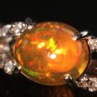 メキシコオパール0.9ct ダイヤモンド プラチナ リング(指輪)