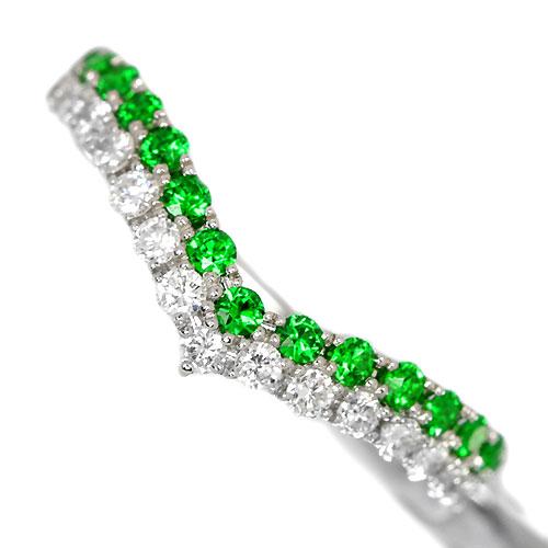 ロシア産デマントイドガーネット0.3ct ダイヤモンド PT リング(指輪)