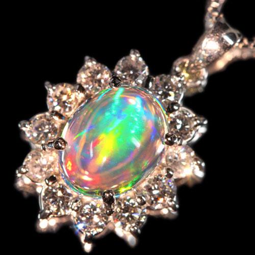 メキシコ産ウォーターオパール 2.3ct ダイヤモンド0.8ct プラチナ ダイヤモンドネックレス