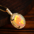 エチオピア産ウェロオパール1.8ct ダイヤモンド イエローゴールド ネックレス