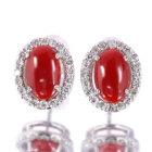 血赤珊瑚 1.4ct ダイヤモンド0.3ct プラチナ ピアス