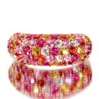 ルビー&マルチカラーサファイア トータル 2.45ct ピンクゴールド パヴェ リング(指輪)