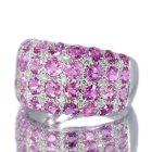 ピンクサファイア 4.7ct ダイヤモンド ホワイトゴールド パヴェリング(指輪)