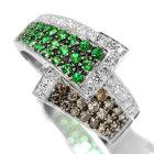 グリーンガーネット(ツァボライト)&ブラウンダイヤモンド ダイヤモンド ホワイトゴールド パヴェリング(指輪)