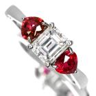 ダイヤモンド 0.7ct VS-1 ルビー0.6ct プラチナ リング(指輪)