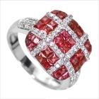 ルビー 2.3ct ダイヤモンド 0.5ct ホワイトゴールド ミステリーセッティング リング(指輪) 【品質保証書/宝石鑑別書付】