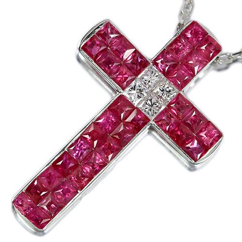 ルビー1.1ct ダイヤモンド0.1ct ミステリークロス ホワイトゴールド ネックレス【品質保証書/宝石鑑別書付】【オーダージュエリー】