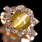 クリソベリルキャッツアイ3.1ct ダイヤモンド プラチナ リング(指輪)