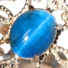 ブルーアパタイトキャッツアイ1.4ct アウイナイト&ダイヤモンド プラチナ リング(指輪)