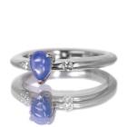 カボションサファイア0.8ct ダイヤモンド プラチナ リング(指輪)