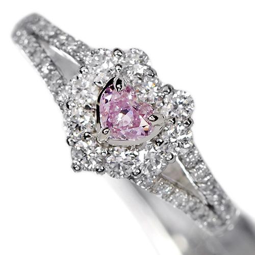 ピンクダイヤモンド0.2ct/FPP ダイヤモンド ハートシェイプ プラチナ リング(指輪)
