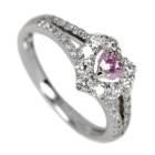 ピンクダイヤモンド0.2ct/FPP ダイヤモンド ハートシェイプ プラチナ リング
