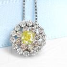 FIY イエローダイヤモンド 0.3ct/ファンシーインテンス  ダイヤモンド ピンクダイヤ プラチナ ネックレス