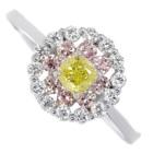 FVY イエローダイヤモンド 0.28ct/ファンシーヴィヴィッド ダイヤモンド ピンクダイヤモンド プラチナ リング(指輪)