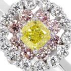 VY イエローダイヤモンド 0.28ct/ファンシーヴィヴィッド ダイヤモンド ピンクダイヤモンド プラチナ リング