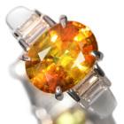 スフェーン3.4ct ダイヤモンド0.4ct プラチナ リング