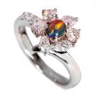 ブラックオパール・キャッツアイ0.2ct ダイヤモンド プラチナ リング(指輪)