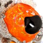 メキシコオパール 11.1ct ダイヤモンド ホワイトゴールド パンダ ネックレス