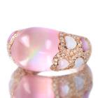 ローズクォーツ カラーシェル/ダイヤモンド ピンクゴールド リング(指輪)