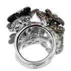 ブラック&ブラウン&ダイヤモンド 2.6ct フラワーモチーフ ホワイトゴールド リング(指輪)