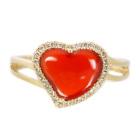 カーネリアン ハートモチーフ ダイヤモンド イエローゴールド リング(指輪)