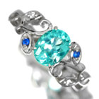 ネオンブルーアパタイト 1.1ct アウイナイト ダイヤモンド プラチナ リング(指輪)