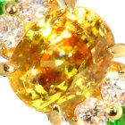 スフェーン 1.7ct デマントイドガーネット ダイヤモンド イエローゴールド リング