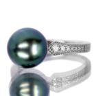 タヒチ黒蝶真珠 9.8mm ダイヤモンド プラチナ リング