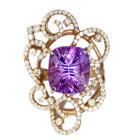アメシスト6.6ct ダイヤモンド1ct ピンクゴールド リング(指輪)