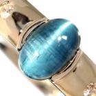 ブルートルマリンキャッツアイ 1.9ct ダイヤモンド プラチナ リング(指輪)