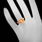 ゴールデンルチルクォーツキャッツアイ 4.3ct ダイヤモンド ピンクゴールド リング(指輪)