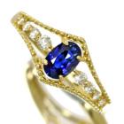 ブルーサファイア 0.4ct ダイヤモンド 0.1ct イエローゴールド リング