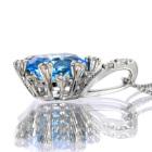 スイスブルートパーズ 1.3ct ダイヤモンド ホワイトゴールド ネックレス