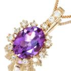 アメシスト 1ct ダイヤモンド ピンクゴールド ネックレス