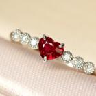 ビルマ産ルビー 0.2ct ダイヤモンド プラチナ ハートシェイプ リング(指輪)