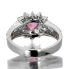 非加熱パパラチャサファイア 0.9ct ハートシェイプ ダイヤモンド プラチナ リング(指輪)